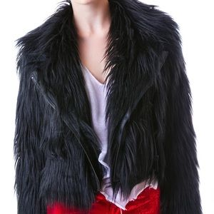 Fair fur shaggy moto jacket
